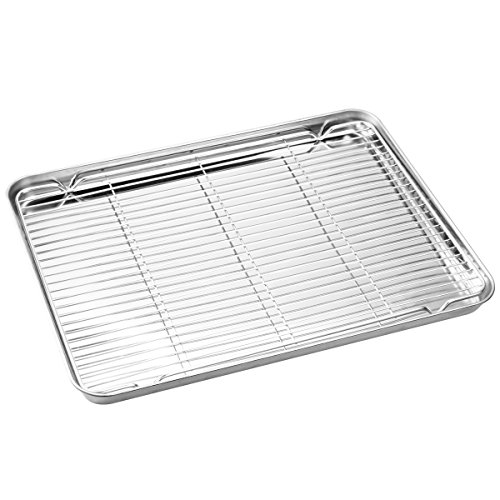 Stainless Steel Baking Sheets with Rack, HKJ Chef Cookie Sheets and Nonstick Cooling Rack & Baking Pans for Oven & Toaster Oven Tray Pans, Rectangle Size 12L x 11W x 1H inch & Non Toxic & Healthy by HKJ Chef (Image #1)