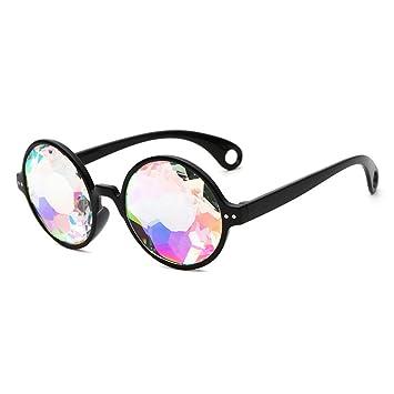 LUOEM 4D Kaleidoscope Lunettes Rainbow lunettes de soleil pour Festivals Rave Light Show (cadre noir avec trous) CPTsIx0