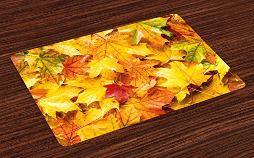 Ambesonne Fall Place Mats Set of 4, Wet Fall Leaves in Rainy Weather Maple Tree Nature in November Change of Seasons Theme, Washable Fabric Placemats for Dining Room Kitchen Table Decor, Multicolor