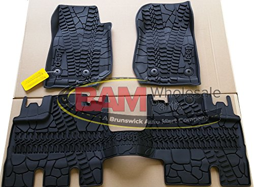 2016-2017 Jeep Wrangler 4 Door Unlimited Slush Mats Front and Rear Set of 3 OEM Mopar (Jeep Wrangler 4 Piece)
