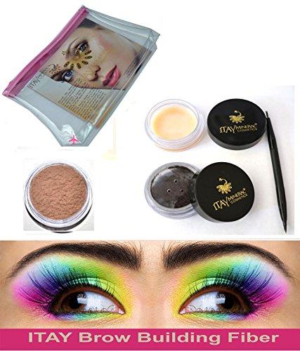 Bundle 4 Items: Itay Beauty Brow Building Keratin Fibers 2.5 Gr + Defining Wax + Duo Brush + Cosmetics Bag (MD BLONDE)