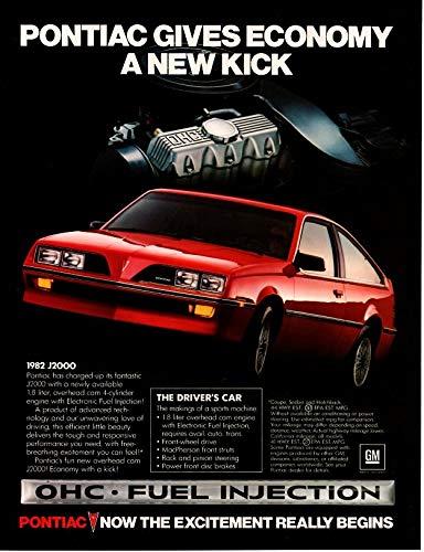 (Magazine Print Ad: 1982 Pontiac J2000 Red, 1.8L 4 Cylinder,
