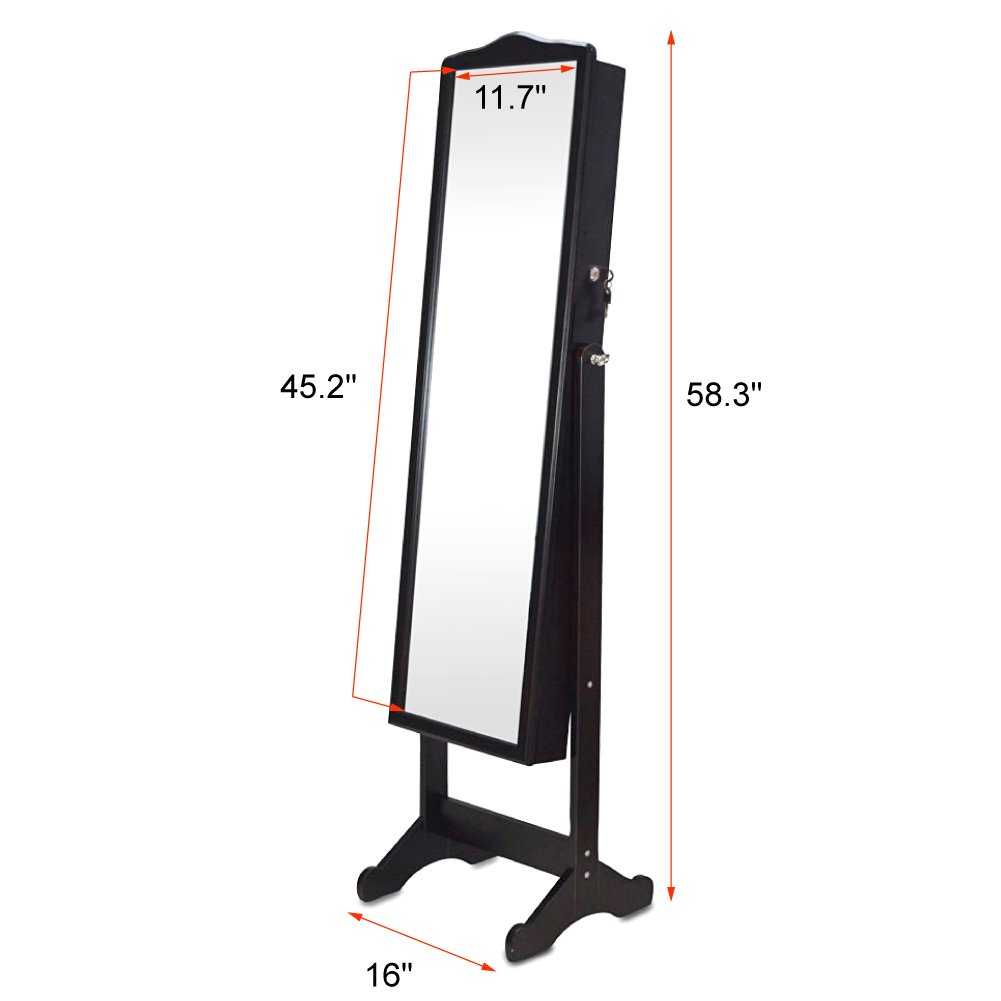 Organizedlife Brown Jewelry Cabinet Full Length Mirror Armoire Free Stand Large Cosmetic Organizer by Organizedlife (Image #8)
