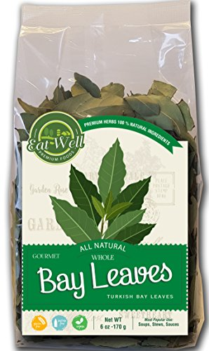 Turkish Bay Leaves Whole | 6 oz Bag, Bulk | 100% Natural Dried Bay Leaf | Herbs & Spices | by Eat Well Premium Foods ()