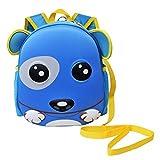 Zahara Waterproof Hard Shell Backpack for Kids, 3D Cute Cartoon Zoo Animals Toddler Preschool Bag with Harness Leash Puppy Dog Blue