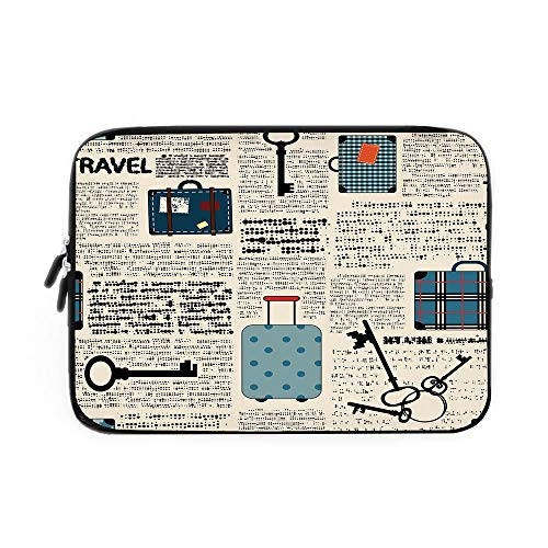 Laptop Sleeve Bag,Neoprene Sleeve Case/Retro Style Travel Vacation Theme Vintage Suitcases Keys Dot Text/for Apple MacBook Air Samsung Google Acer HP DELL Lenovo AsusCream ()