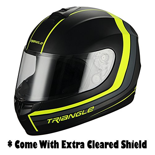 Full Face Matte Black/Neon Yellow Street Bike Motorcycle Helmet by Triangle [DOT] (Large)