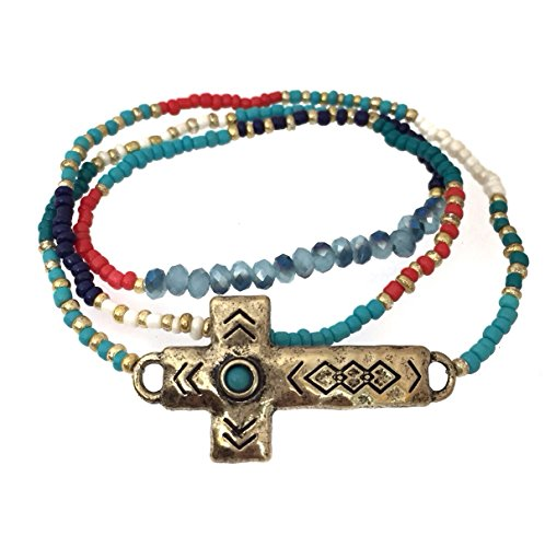 Gypsy Jewels Multi Color Seed Bead Gold Tone Sideways Cross Wrap Stretch Bracelet or Necklace Blue Red White (Aqua Blue Multi) -