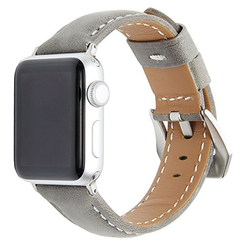 - Cywulin Compatible with Apple Watch Band 38mm 40mm 42mm 44mm, Leather Replacement Bands Loop Wrist Strap Bracelet for iWatch Series 4 3 2 1 with Stainless Steel Buckle Adapters (38mm/40mm, Gray)