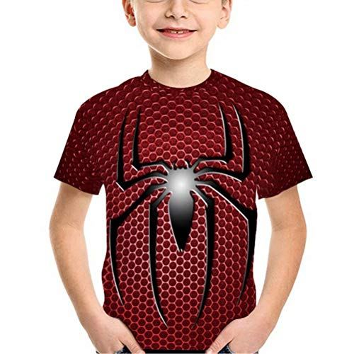 Tsyllyp Spider-Man T-Shirts 3D Print Boys Girls Summer Tee Shirt]()
