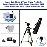 Heavy Duty Photo & Video Tripod Pro Kit for Canon PowerShot A490, Canon PowerShot A495, Canon PowerShot A800, Canon PowerShot D10, includes; Flexible Monopod, Universal Adapter, 5PC Lens Cleaning Kit and USB 2.0 Flash Card Reader