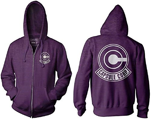 Dragon Ball Z Capsule Corp Symbol Trunks Adult Zip Up Hoodie (Small)
