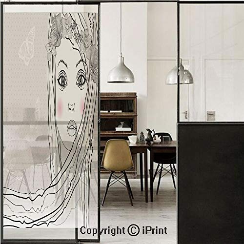 (Teen Room Decor 3D Decorative Film Privacy Window Film No Glue,Frosted Film Decorative,Baby Face Young Girl with Floral Wreath on Hair and Butterfly Design,for Home&Office,23.6x59Inch Pearl Black Whit)