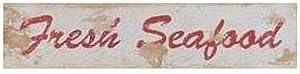 Buyartforless Fresh Seafood Sign by Stephanie Marrott 18x4 Art Print Poster Wall Decor Coastal Beach Seaside