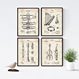 Nacnic Vintage - Pack of 4 Sheets patents Musical Instruments. Set Posters Inventions Old patents. Choose The Color You Like. Printed on 250 Grams
