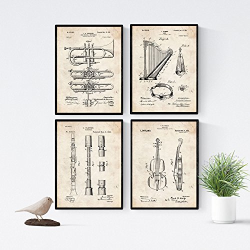 Nacnic Vintage - Pack of 4 Sheets patents Musical Instruments. Set Posters Inventions Old patents. Choose The Color You Like. Printed on 250 Grams]()