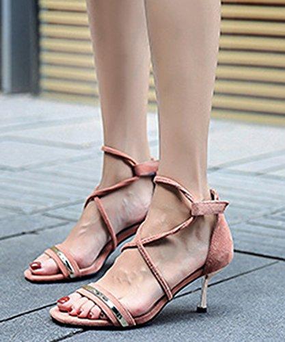 Femme Talon Bal Scratch Multicolore Sandales Moyen Rose Coloré Aisun gqxdRg