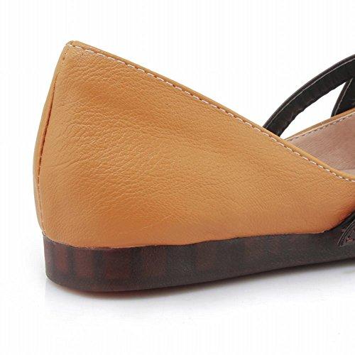 Mee Shoes Damen flach Schnalle vierkant Pumps Gelb