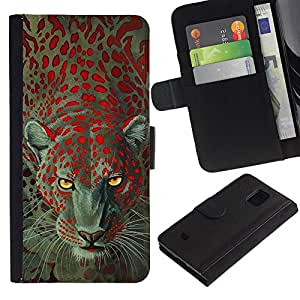 KingStore / Leather Etui en cuir / Samsung Galaxy S5 Mini, SM-G800 / Leopardo Animal Eyes África Piel;