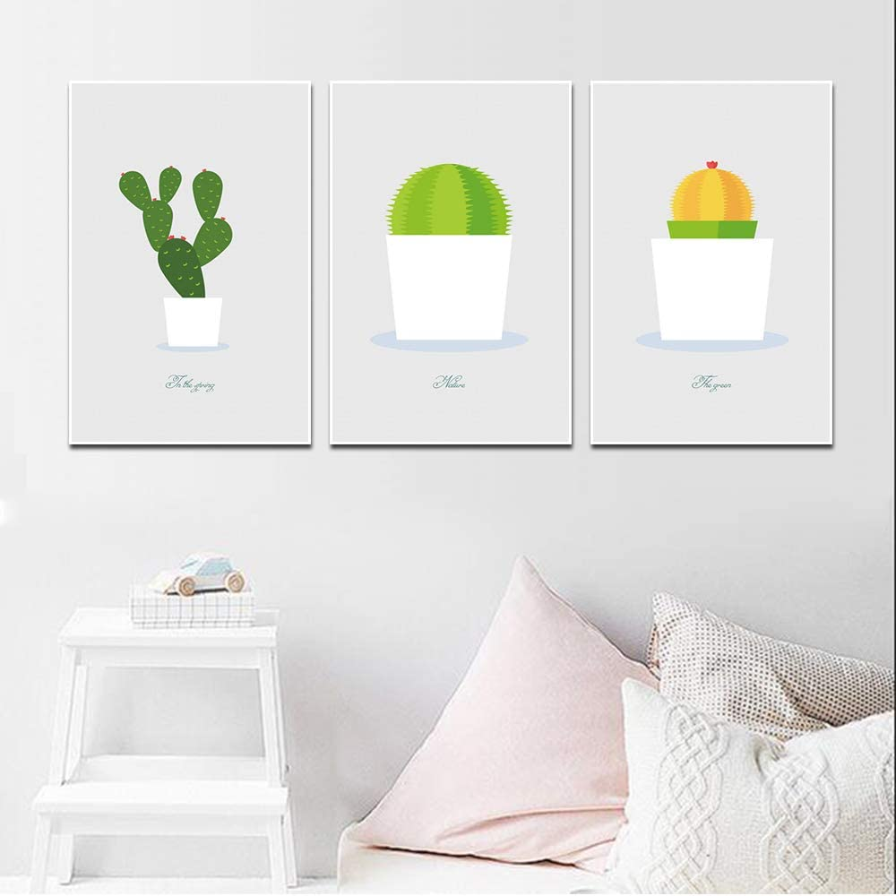 Amazon Com Liwendi Canvas Painting Simple Cartoon Art Painting Prickly Pear Printed Canvas Living Room Mural Cactus Decoration Posters And Prints 3040cm3 Posters Prints