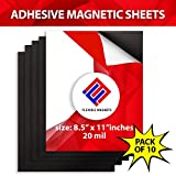 10 Adhesive Magnetic Sheets - 8.5'' x 11'' - 20 mil Magnet - Peel & Stick