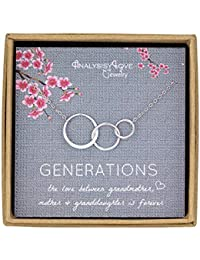 3 Generations Necklace - Sterling Silver Interlocking Infinity 3 Circles Necklace for Grandma Mom Granddaughter, Birthday Jewelry