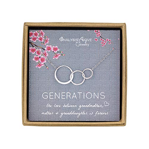 AnalysisyLove 3 Generations Necklace - Sterling Silver Interlocking Infinity 3 Circles Necklace for Grandma Mom Granddaughter, Birthday Jewelry (Circle Mom Necklace)