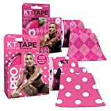 KT Tape PRO Synthetic Kinesiology Tape Two-Roll Bundles - 40 Count Precut I-Strips - Pink Polka Dots & Pink Argyle