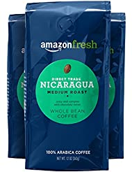 AmazonFresh Direct Trade Nicaragua Whole Bean Coffee, Medium Roast, 12 Ounce (Pack of 3)