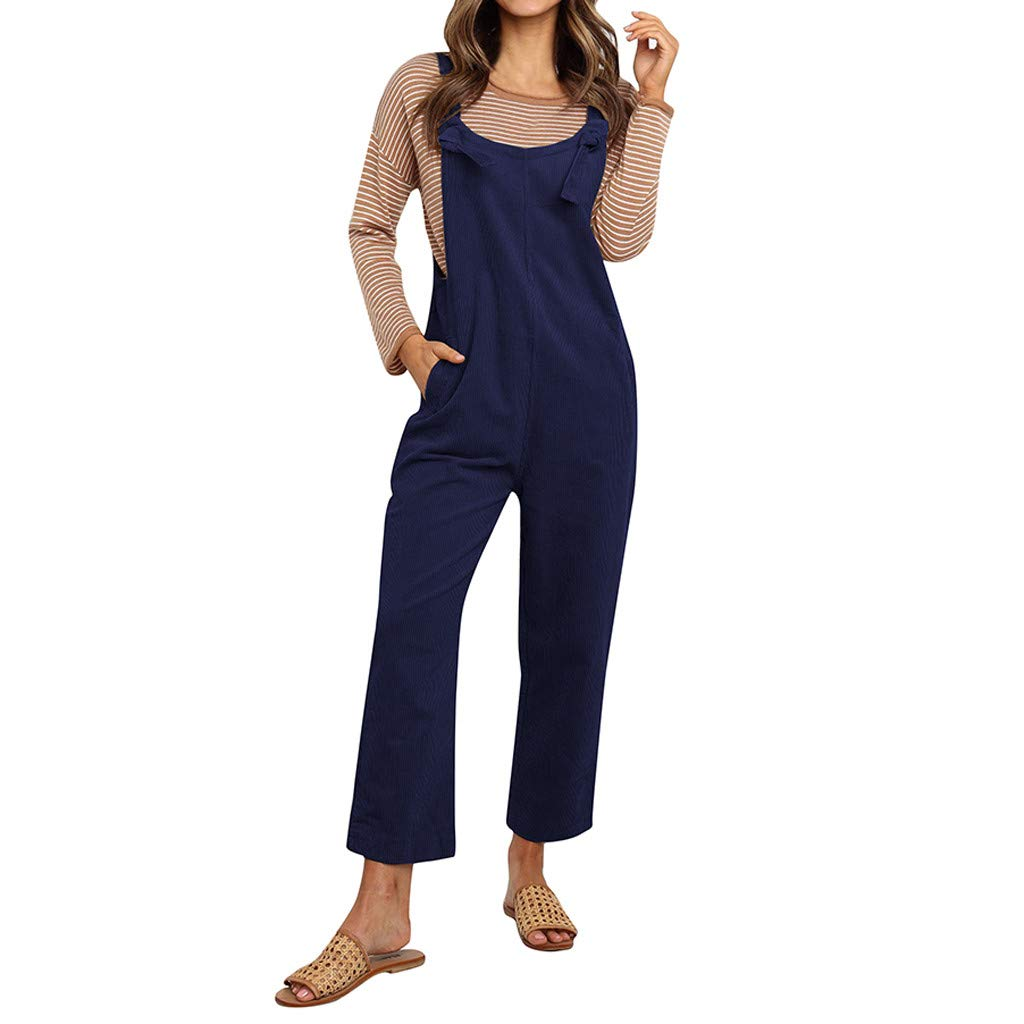 Ximandi Women's Casual Sling Sleeveless Plain Loose Vintage Playsuit Jumpsuit Overalls with Pockets
