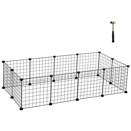 SONGMICS Small Pet Playpen, Customizable Animal Fence, Metal Wire Pen Fence for Small Animals, Guinea Pigs, Rabbits Kennel, Includes Rubber Mallet for Indoor Use, ULPI01H