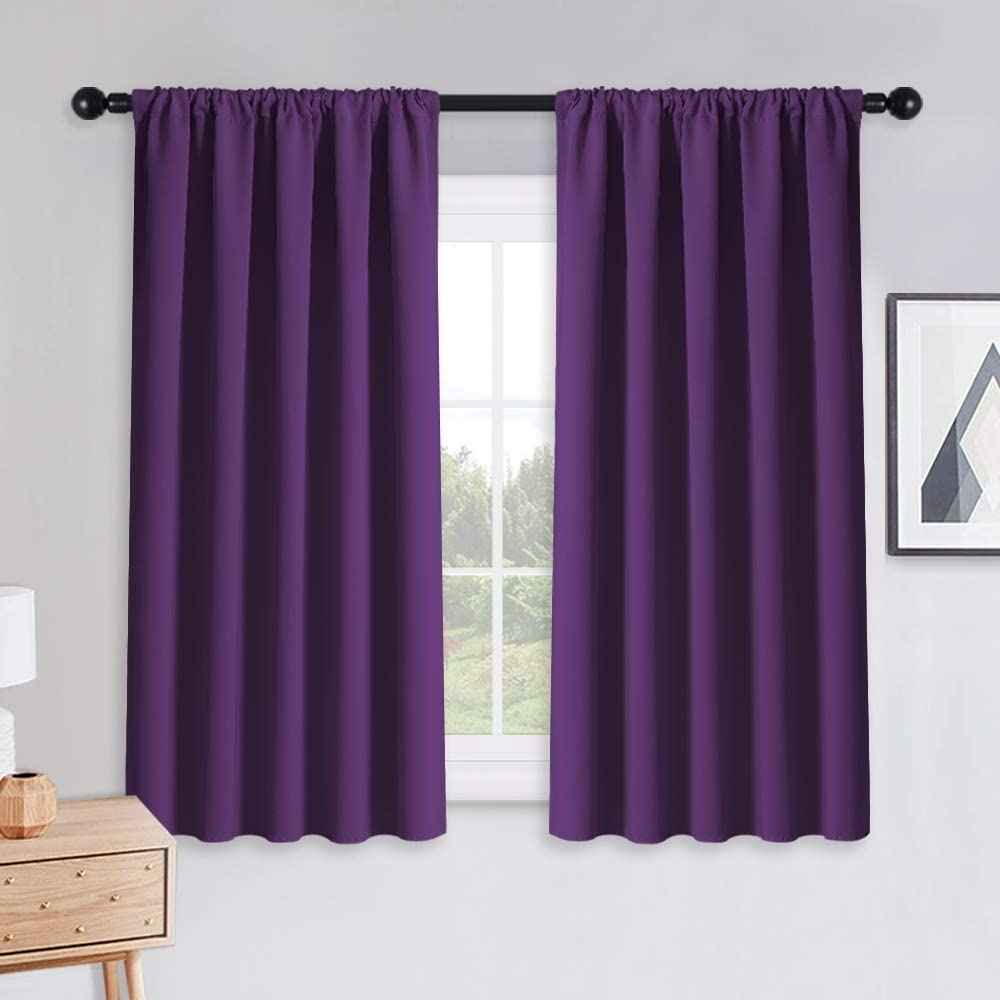 PONY DANCE Bedroom Drapes Set - Blackout Curtains All Season Solid Rod Pocket Top Curtain Panels/Thermal Insulated Draperies Window Treatments, W 52 by L 54 inches, Royal Purple, 1 Pair