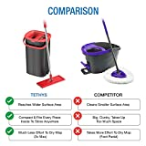 TETHYS Flat Floor Mop and Bucket Set for