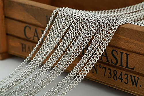 Price comparison product image 32 Feet Chain for Bracelet Necklace Silver White Plated Twisted Cross Chains-jewelry Making Chain (B)