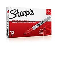 Sharpie 30002 Marcador permanente de punta fina, Marcas en papel y plástico, Resistente al desvanecimiento y al agua, Certificado AP, Color rojo, Paquete de 12 marcadores