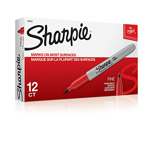 (Sharpie 30002 Fine Point Permanent Marker, Marks On Paper and Plastic, Resist Fading and Water, AP Certified, Red Color, Pack Of 12 Markers)