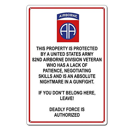 Property Protected by 82nd Airborne Veteran U.S. Army Tin Sign Metal Sign Metal Decor Wall Sign Wall Poster Wall Decor Door Plaque TIN Sign 7.8X11.8 INCH ()