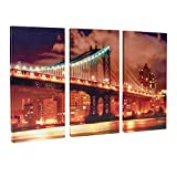 new york brooklyn bridge wall art - Donglin Art-New York Painting Brooklyn Bridge Paintings Wall Art Decor Oil Paintings for Living Room and Bedroom Decor Framed and Stretched (30 x 60 x 3pcs, Night Scenc)
