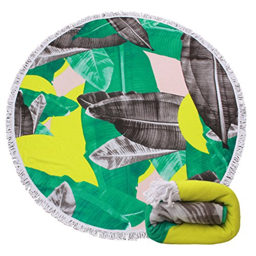 Round Beach Towel Blanket Tapestry - Haiwii Palm Large Circle Thick Terry Throw Roundie Yoga Picnic Mat With Fringe Tassel For 2 Person Adult 14 Patterns - Circle Thick