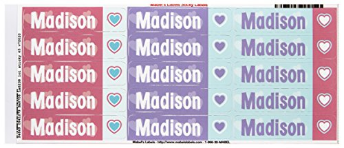 Mabel's Labels 40845178 Peel and Stick Personalized Labels with the Name Madison and Heart Icon, 45-Count