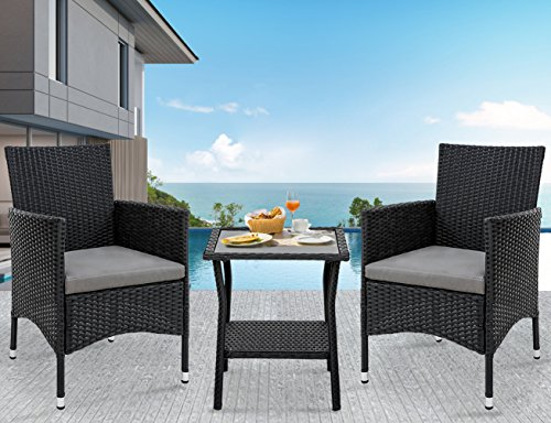 Merax Outdoor 3 Pcs Patio Furniture Table Chair Set with Cushion Wicker Outdoor Furniture (Woven Garden Chair)