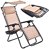 Phantomx Beige Folding Recliner Zero Gravity Lounge Chair With Shade Canopy Cup Holder