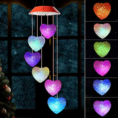 Wind Chimes Outdoor, Gifts for mom, Solar Wind Chimes,Heart Wind Chime,Outdoor Decor, mom Gifts,mom Birthday Gift,Gardening Gifts,Grandma Gifts, Color Wind Chimes Solar,windchimes Unique Outdoor