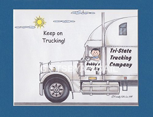 Semi Truck Driver Gift Personalized Custom Cartoon Print 8x10, 9x12 Magnet or Keychain by giftsbyabigail