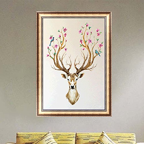 Cross Stitch Kit Point (LAYs 5D Diamond Painting Embroidery Needlework Deer Antlers Cross Stitch Home Decor)