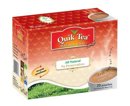QuikTea All Natural Masala Chai, Masala Spiced, 480 g (20 Pouches) by Quick Tea