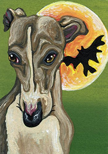 ACEO ATC Greyhound Halloween Art Original Pet Dog Painting-Carla Smale]()