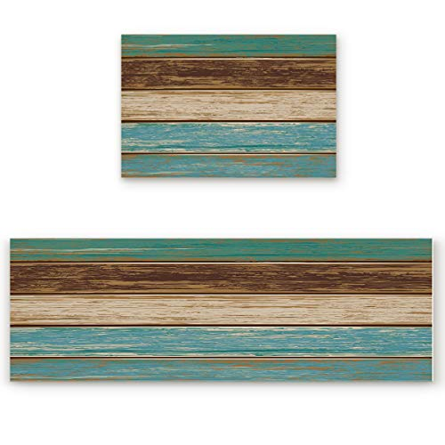 - Savannan 2 Piece Non-Slip Kitchen Bathroom/Entrance Mat Absorbent Durable Floor Doormat Runner Rug Set - Rustic Old Barn Wood Retro