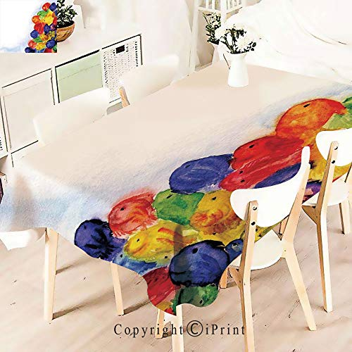 aterproof Spillproof Polyester Fabric,Decor Group of Murky Mix Fish Table Cover for Kitchen Dinning Tabletop Decoration,W55 xL83,Multi ()