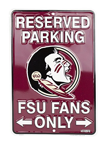 Fan Parking Sign - HangTime Florida State Seminoles Fans Parking Only Metal Sign 8 x 12 embossed